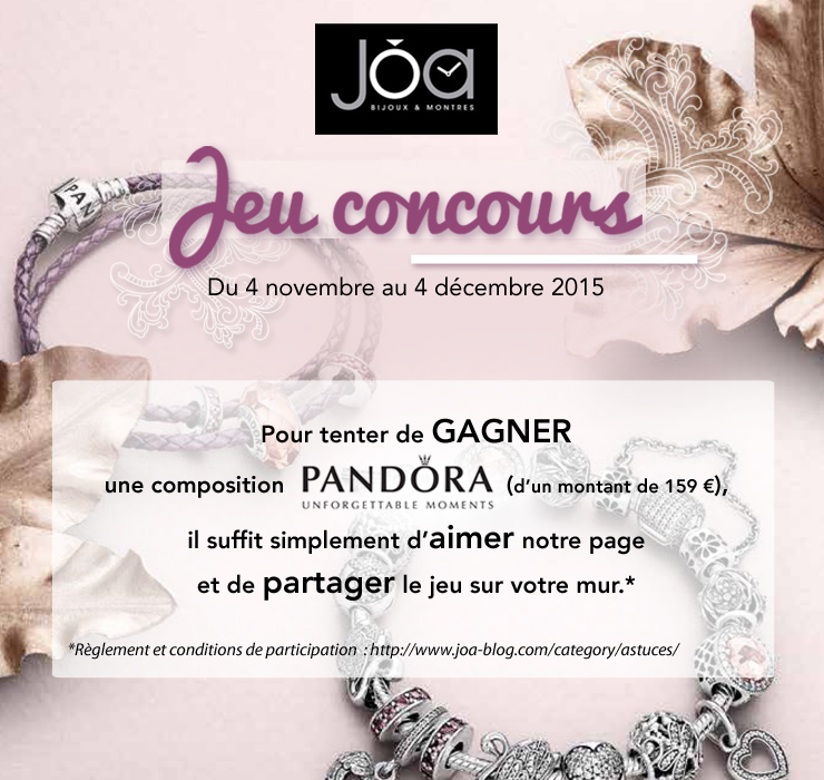 r glement jeu concours facebook pandora joa shop blogjoa shop blog. Black Bedroom Furniture Sets. Home Design Ideas